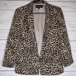 Black Rainn Leopard Print Blazer Front Closure M